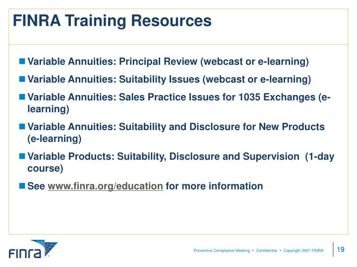 FINRA Training Resources