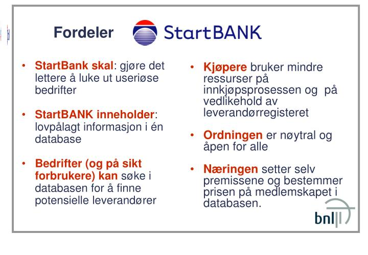 StartBank skal