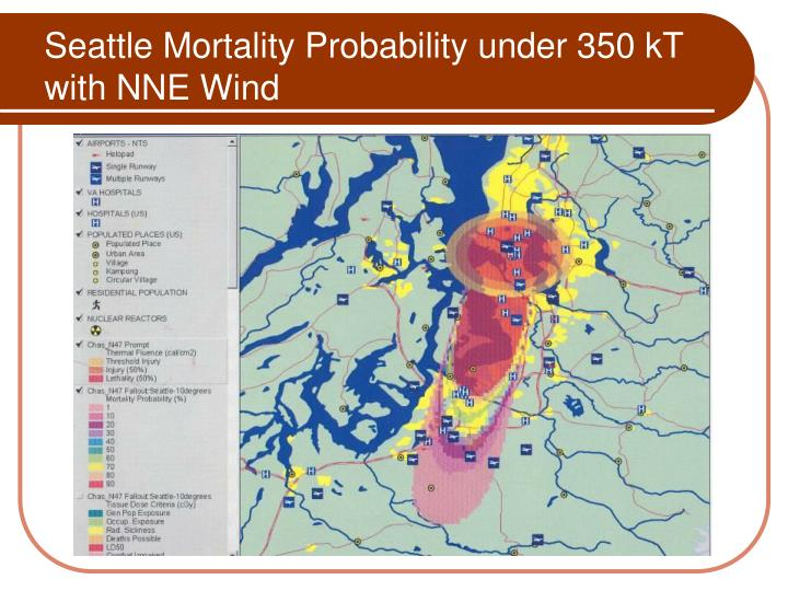 Seattle Mortality Probability under 350 kT with NNE Wind