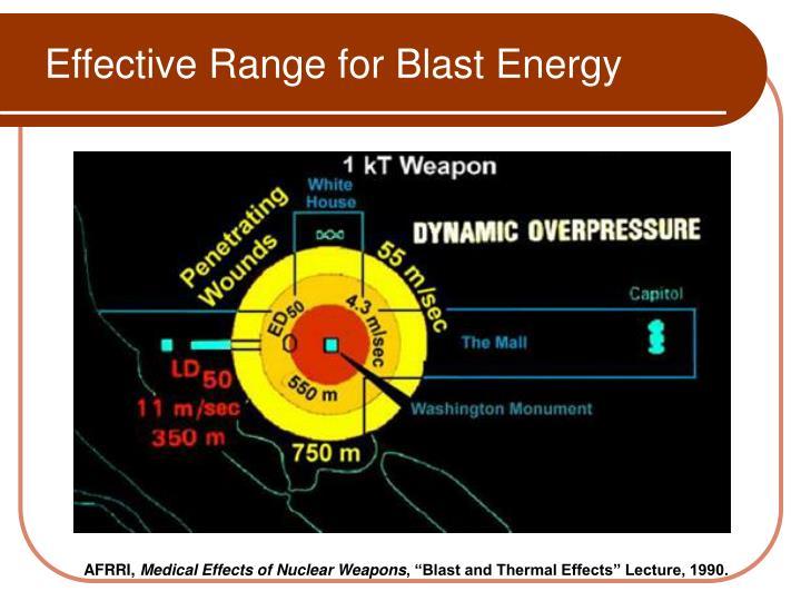 Effective Range for Blast Energy