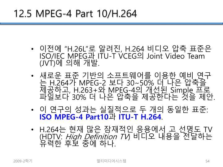 12.5 MPEG-4 Part 10/H.264