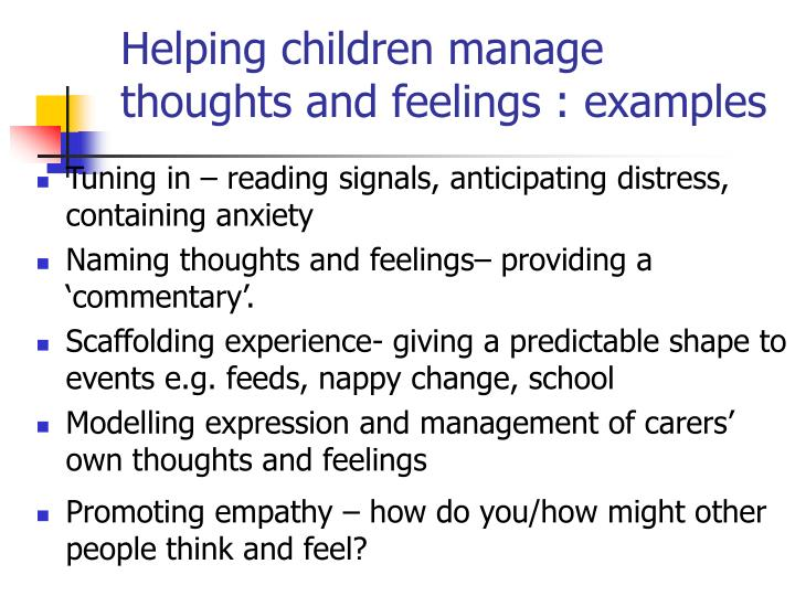 Helping children manage thoughts and feelings : examples