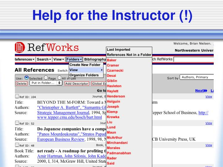 Help for the Instructor (!)