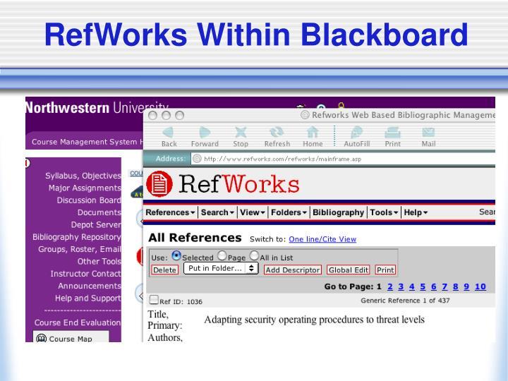 RefWorks Within Blackboard