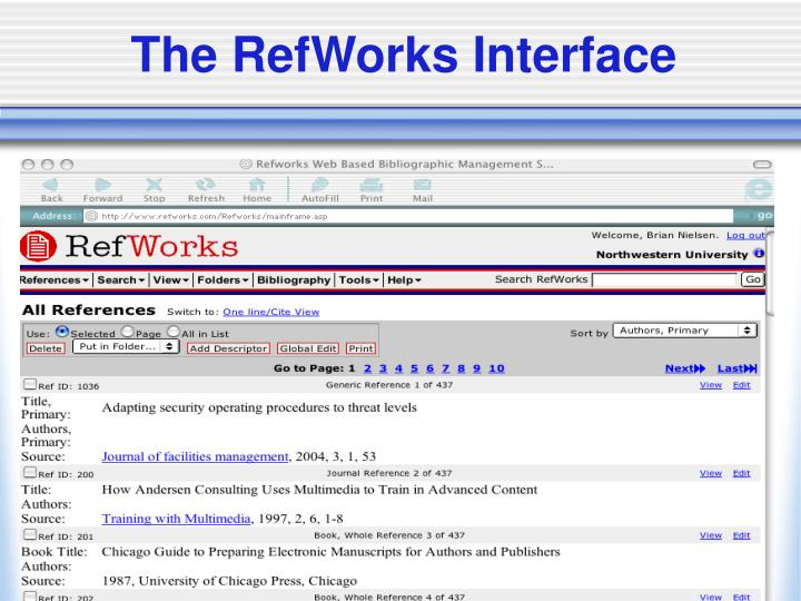 The RefWorks Interface