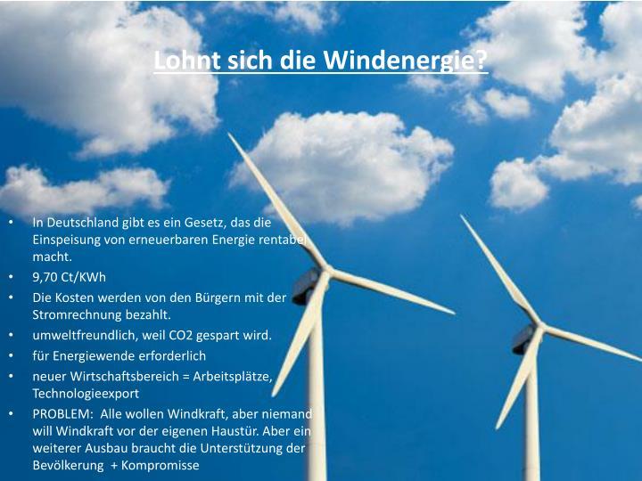 Lohnt sich die Windenergie?