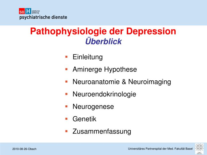 Pathophysiologie der depression berblick
