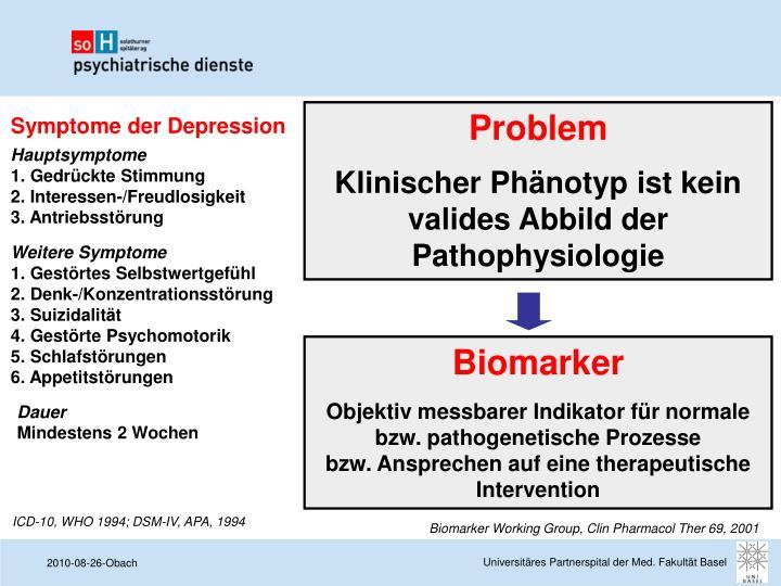 Symptome der Depression