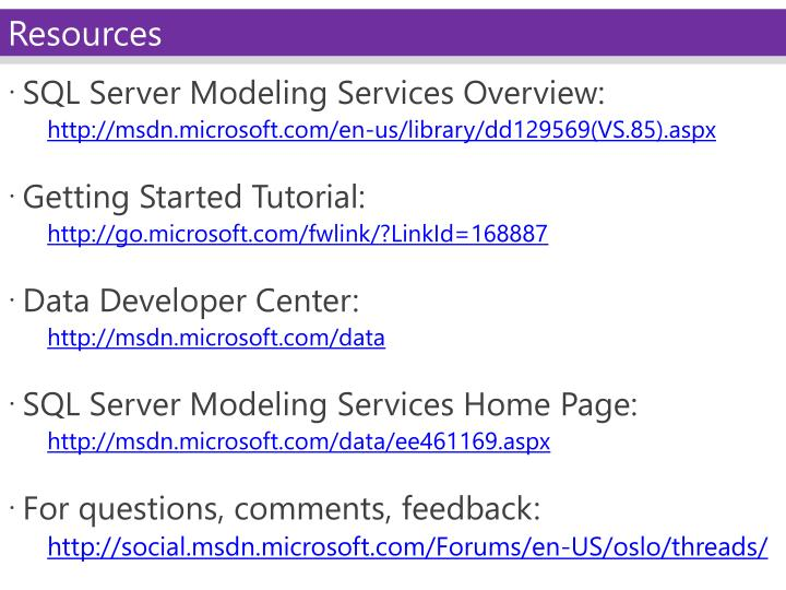 SQL Server Modeling Services Overview: