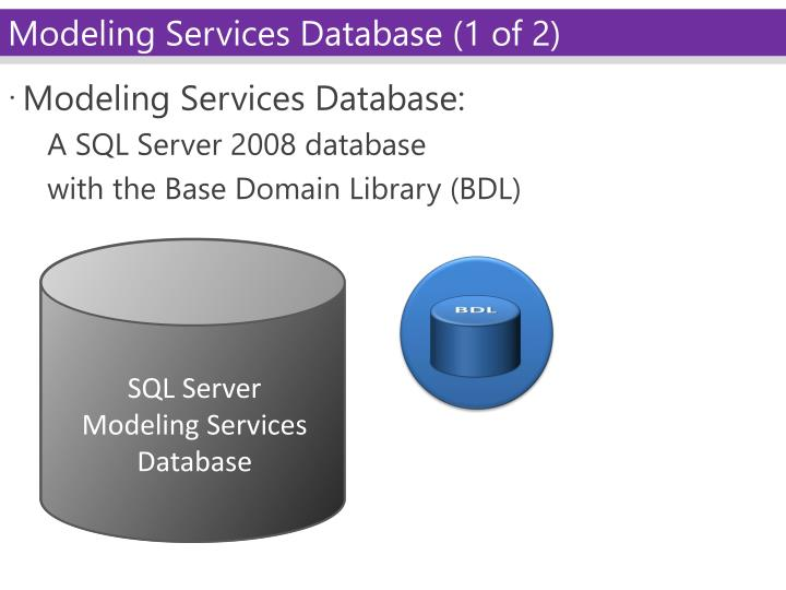 Modeling Services Database: