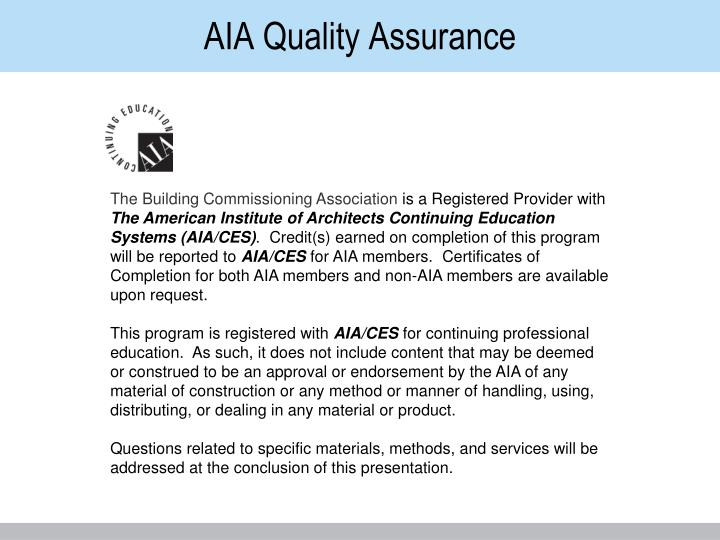 Aia quality assurance