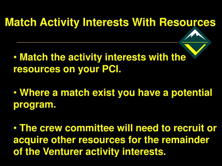 Match Activity Interests With Resources