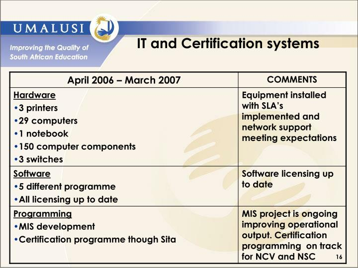 IT and Certification systems