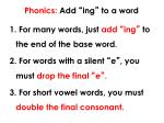 phonics add ing to a word