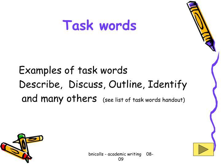 Task words