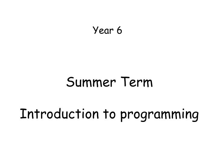 summer term introduction to programming n.