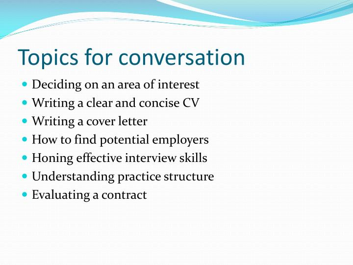 Topics for conversation