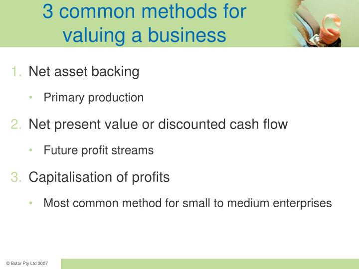 3 common methods for valuing a business