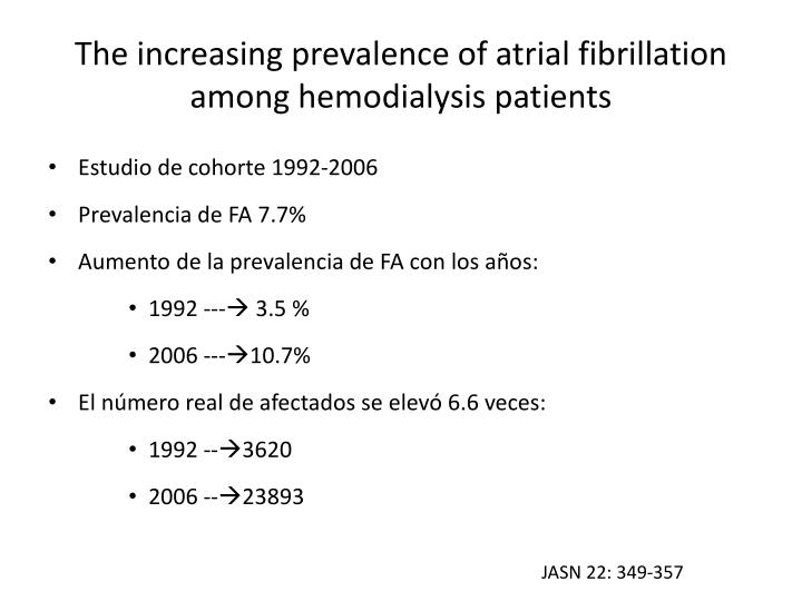 The increasing prevalence of atrial fibrillation among hemodialysis patients