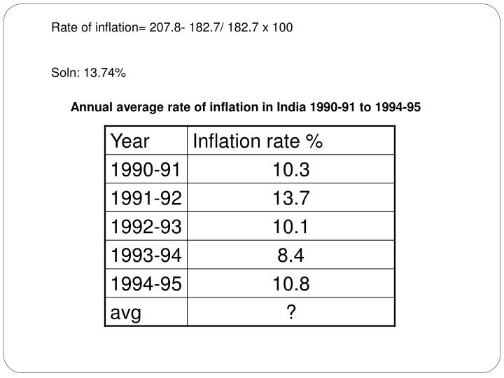 Rate of inflation= 207.8- 182.7/ 182.7 x 100