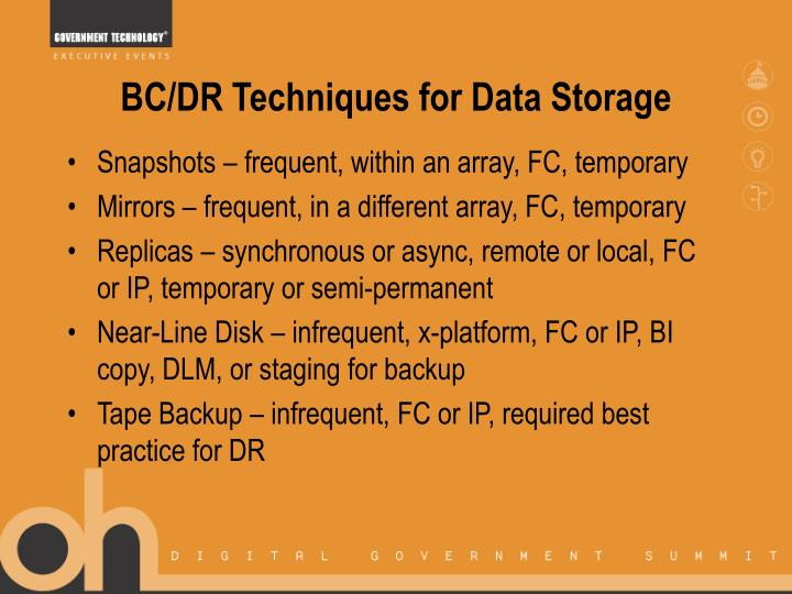BC/DR Techniques for Data Storage