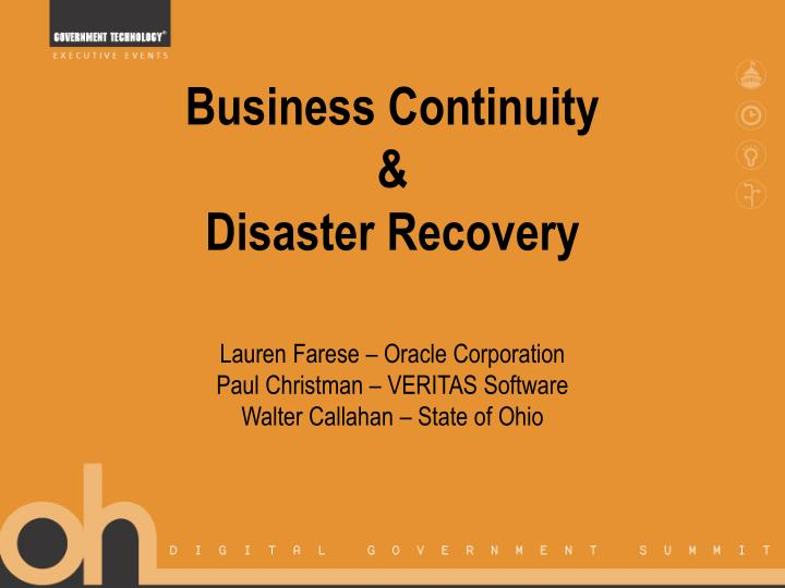 Business continuity disaster recovery