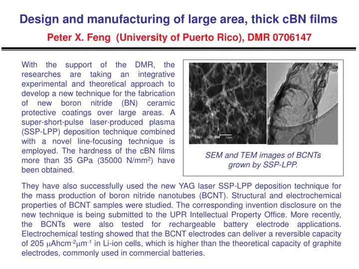 Design and manufacturing of large area, thick cBN films