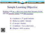 sample learning objective