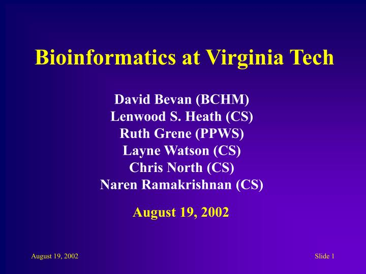 bioinformatics at virginia tech n.