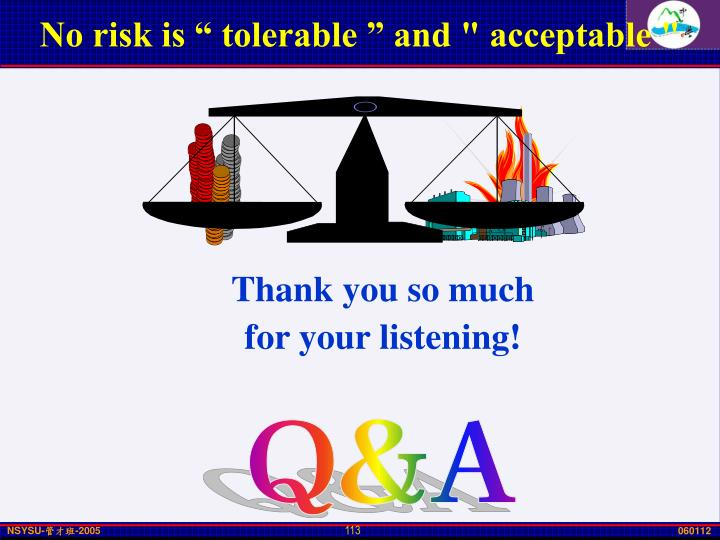 "No risk is "" tolerable "" and "" acceptable """
