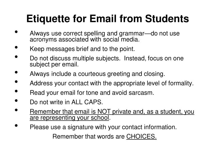 Etiquette for Email from Students