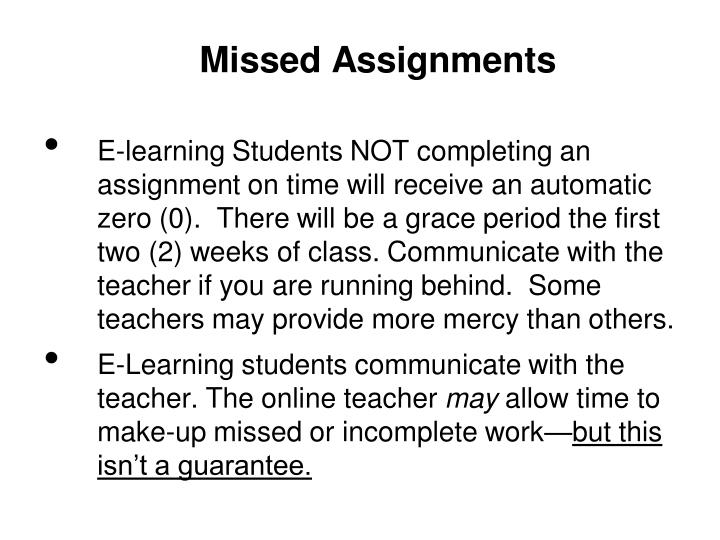 Missed Assignments