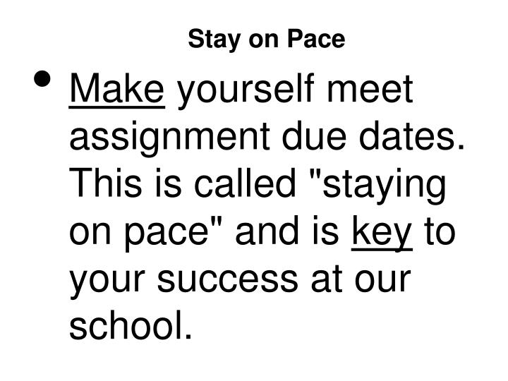 Stay on Pace