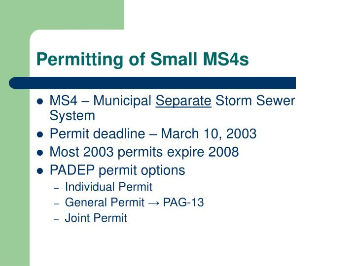 Permitting of small ms4s