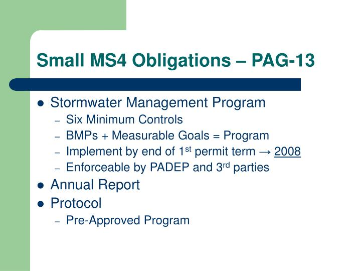Small MS4 Obligations – PAG-13