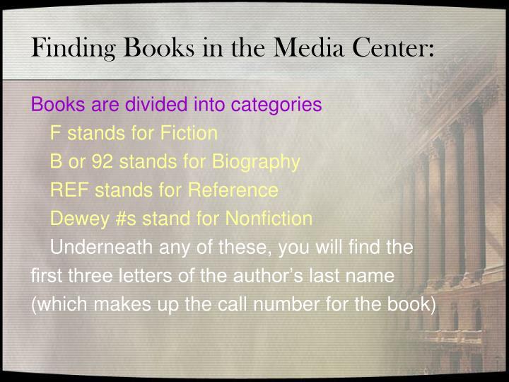 Finding Books in the Media Center: