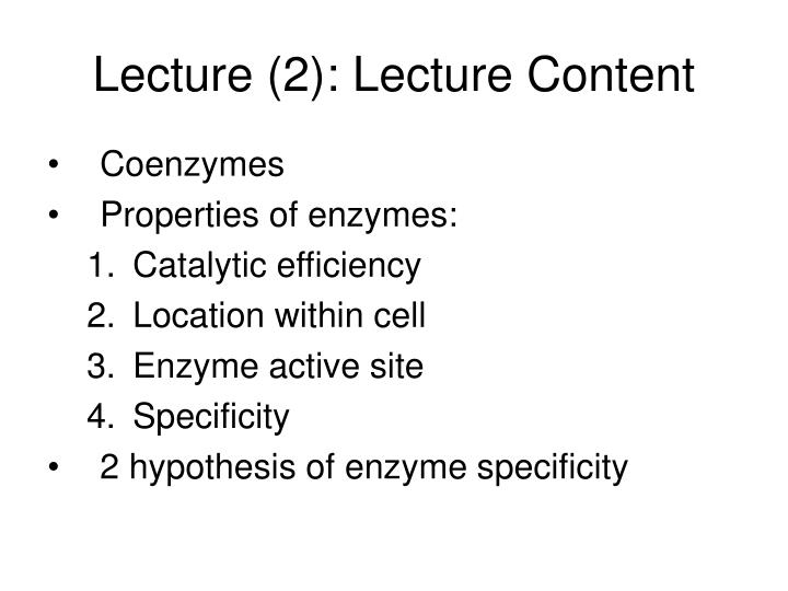 Lecture 2 lecture content