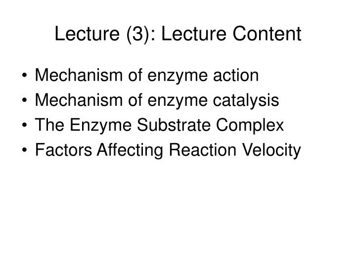 Lecture (3): Lecture Content