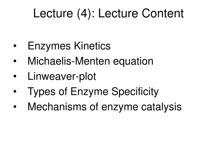 Lecture (4): Lecture Content