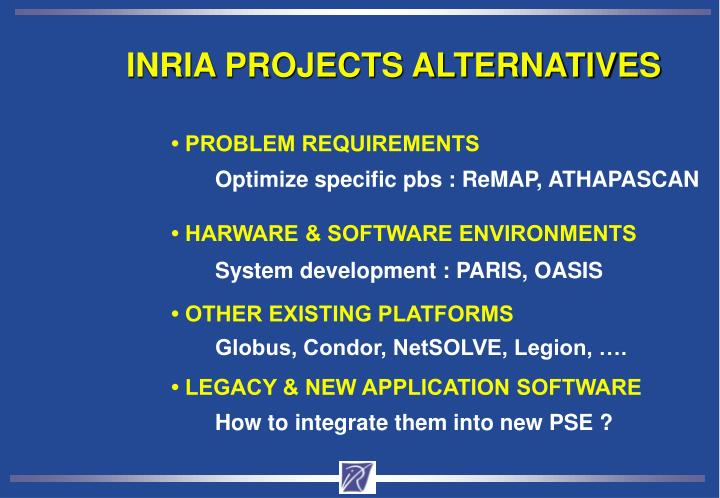 INRIA PROJECTS ALTERNATIVES