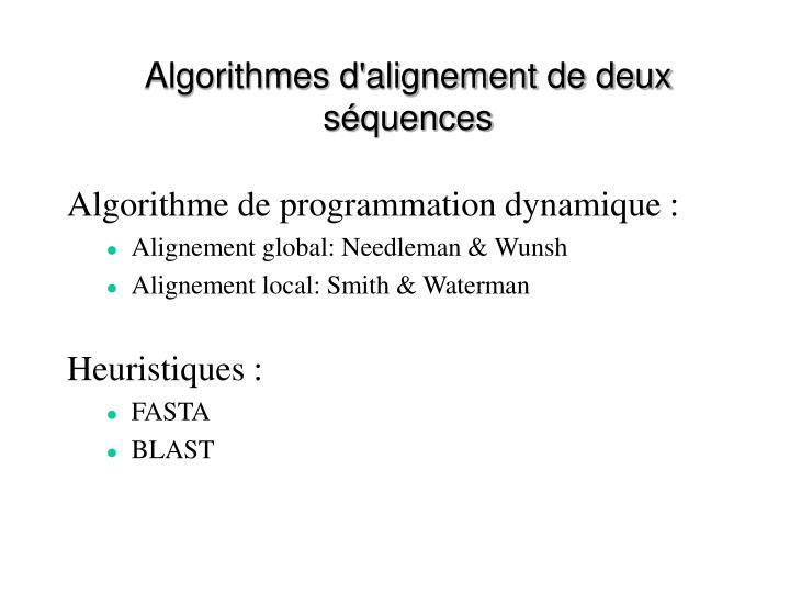 Algorithmes d'alignement de deux séquences