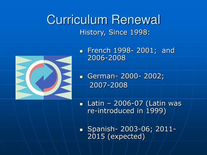 Curriculum Renewal