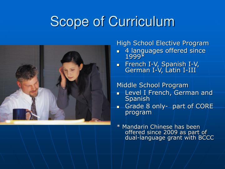 Scope of Curriculum
