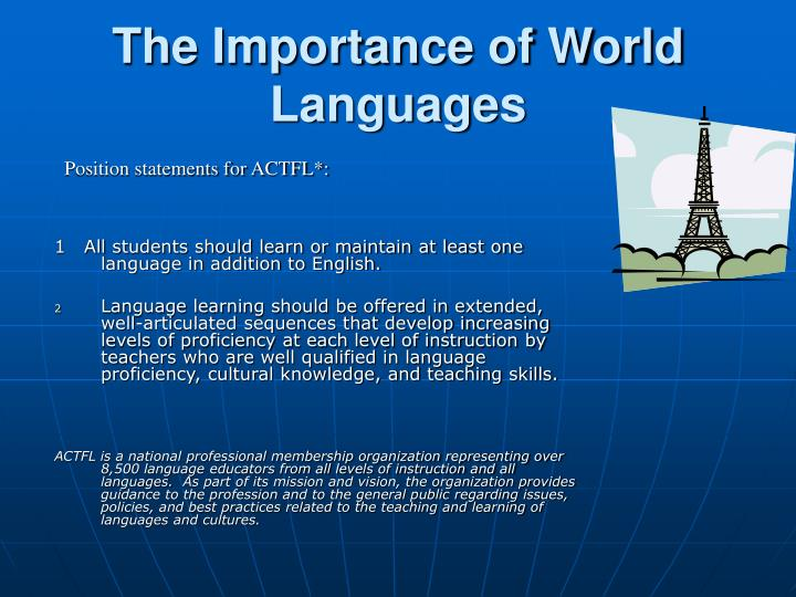 The importance of world languages