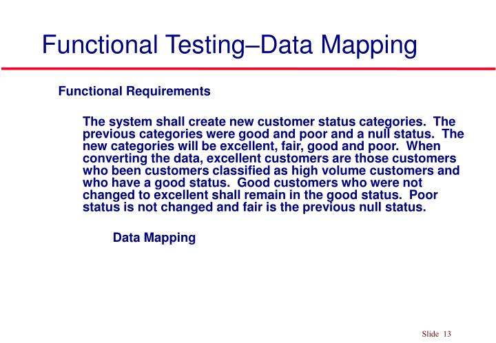 PPT Functional Testing PowerPoint Presentation ID - Data mapping requirements
