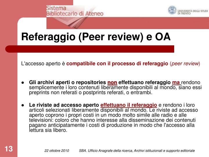 Referaggio (Peer review) e OA