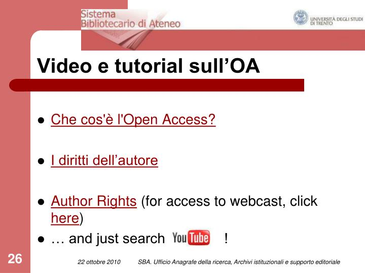 Video e tutorial sull'OA