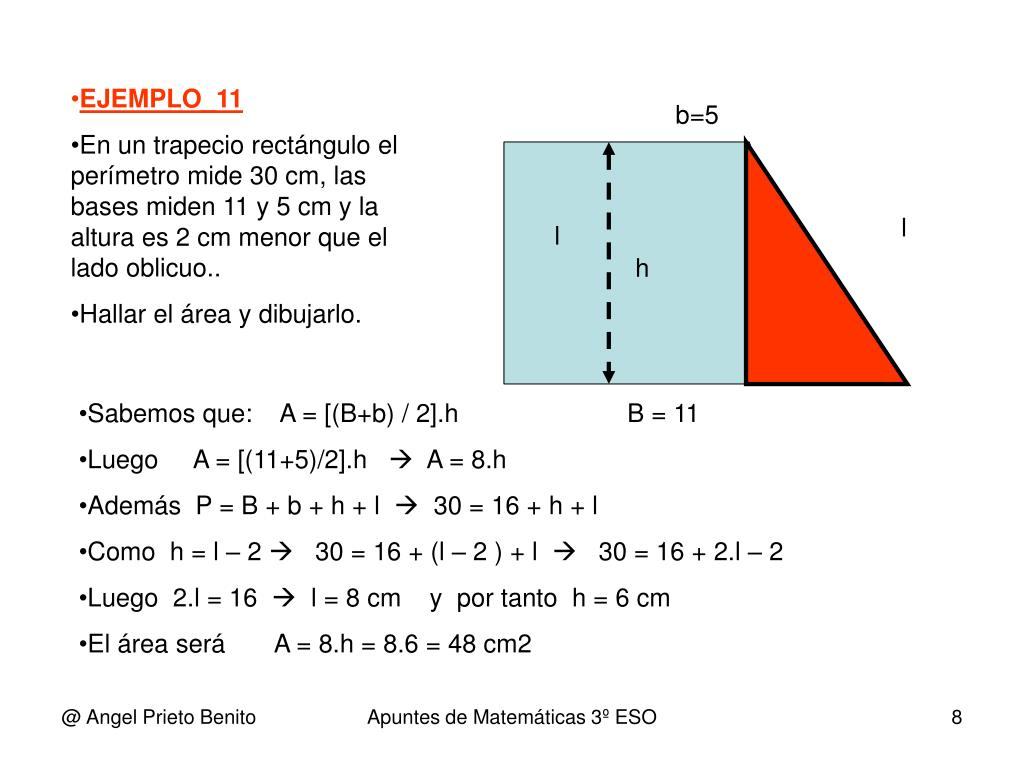 como calcular el lado oblicuo de un trapecio rectangulo