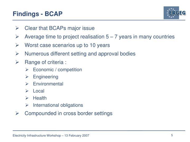 Findings - BCAP