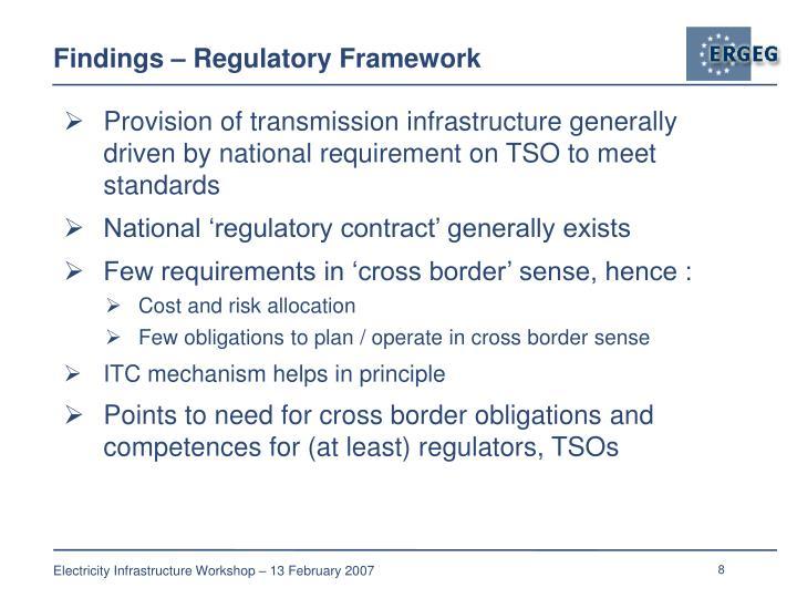Findings – Regulatory Framework